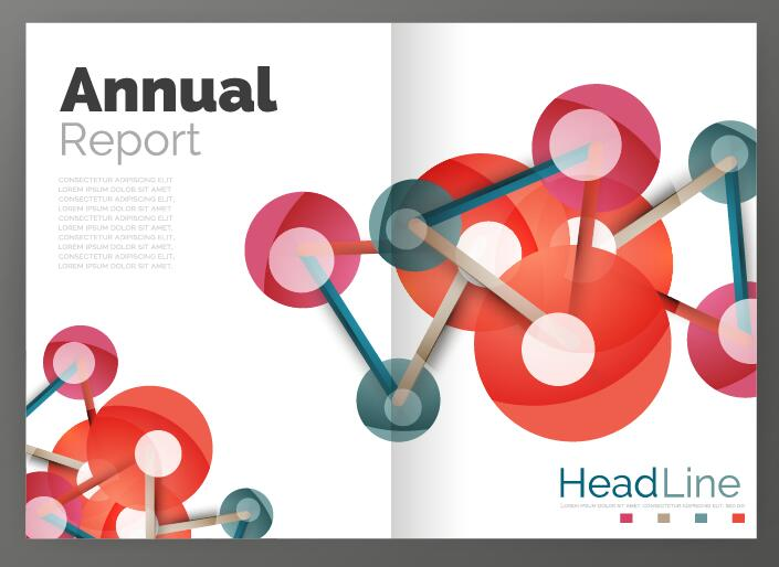 Molecule annual report brochure cover template vector 12