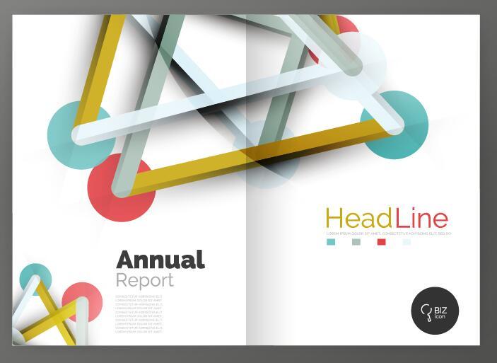 Molecule annual report brochure cover template vector 13