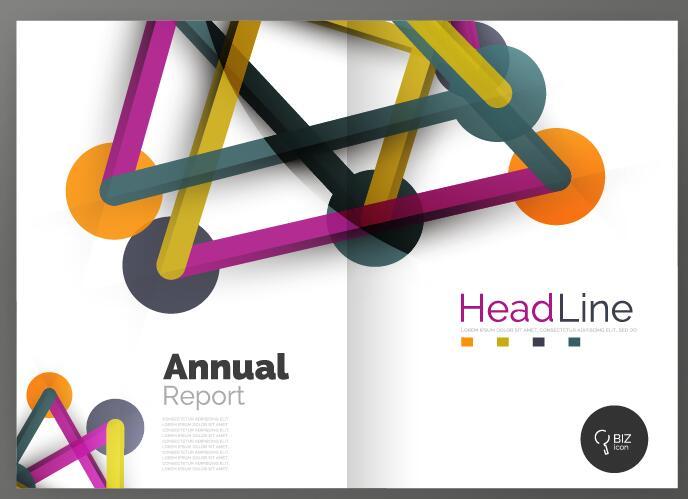 Molecule annual report brochure cover template vector 15
