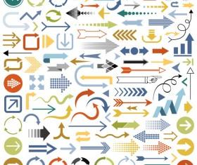 Multicolored arrows vector set