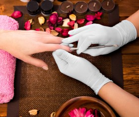 Nail care to do the customer and the nail division Stock Photo