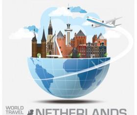 Netherlands travel vector template
