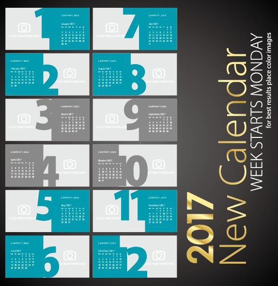 New calendar 2017 sea green colored vector