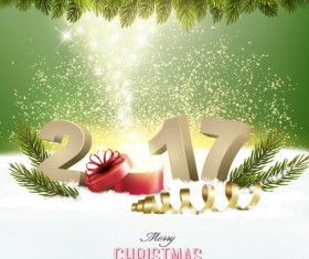 New year with 2017 christmas background art vector