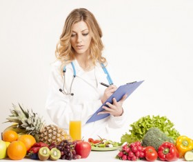 Nutritionist with fresh vegetables and fruits HD picture 01