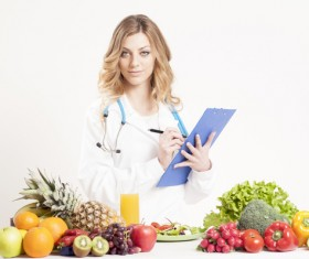 Nutritionist with fresh vegetables and fruits HD picture 02