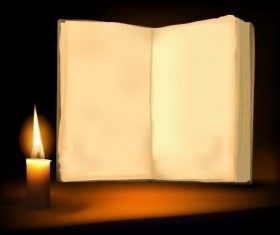 Old book and candle vector background