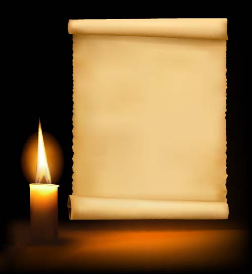 Old paper and candle vector background 01