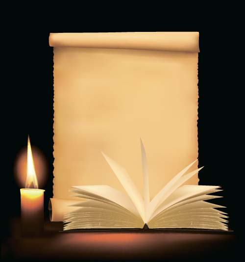 Old paper and candle with book vector background - Vector ...