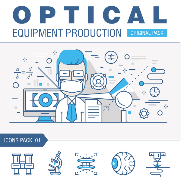 Optical laboratory thin line vector material 01