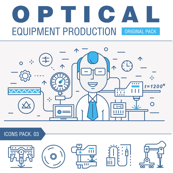 Optical laboratory thin line vector material 03