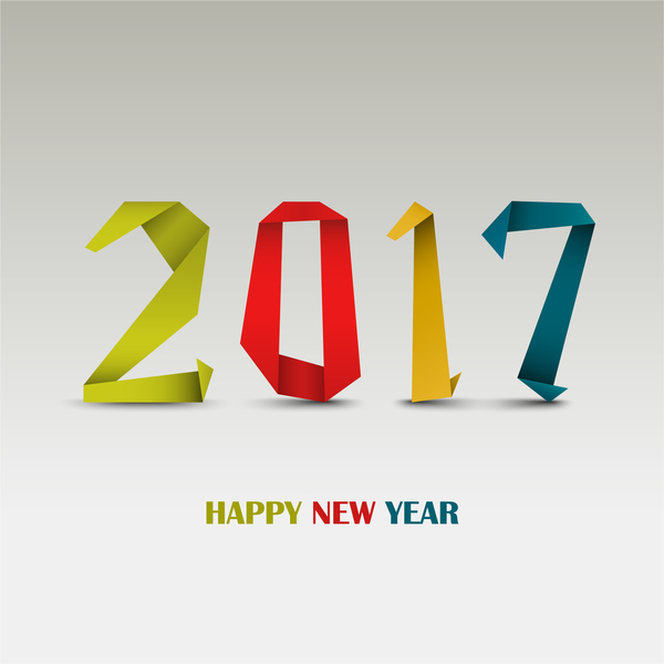 Origami 2017 new year design vector - Vector Festival free download