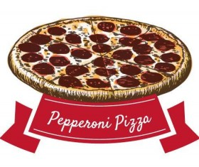 Papperoni pizza vintage label vector