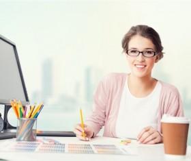 Pencil box computer coffee female designer Stock Photo