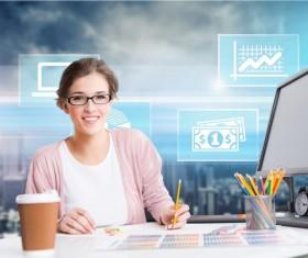 Pencil design female designer Stock Photo