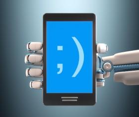 Phone and Robot hand Stock Photo