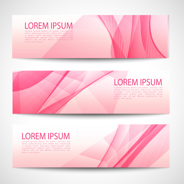 Pink banner abstract vector 03