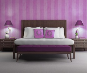 Pink walls chic bedroom HD picture