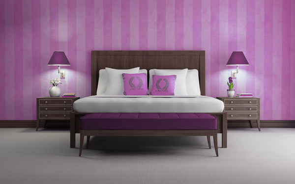 Pink walls chic bedroom HD picture free download