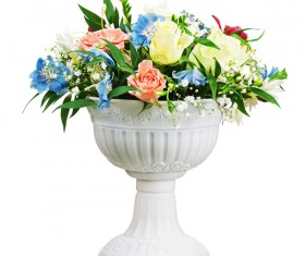 Porcelain flower pot with colorful flowers Stock Photo