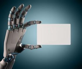 Postcards and Robot hand Stock Photo