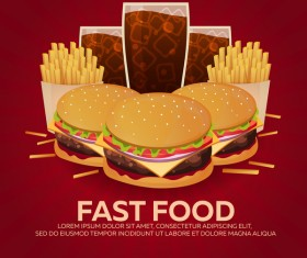 Poster fast food vector material 08