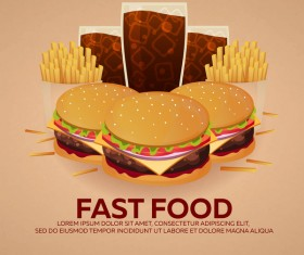 Poster fast food vector material 09