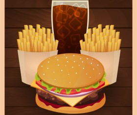 Poster fast food vector material 10