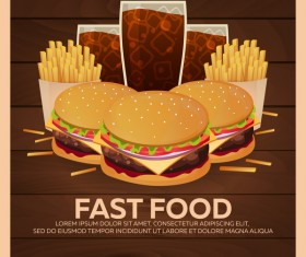 Poster fast food vector material 11