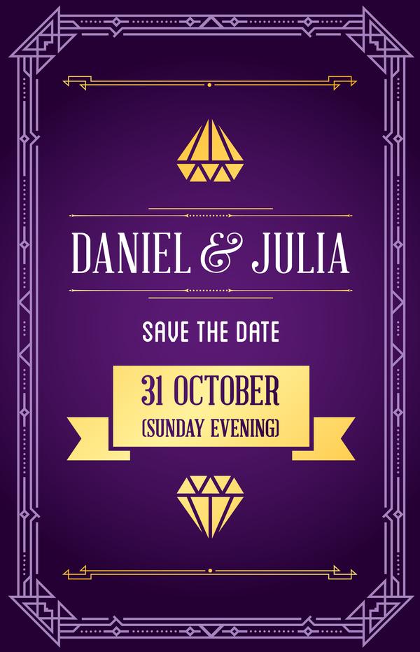 purple wedding invitation card template vector 01