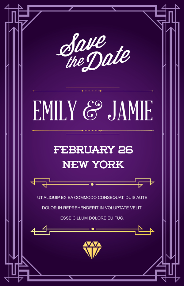 purple wedding invitation card template vector 02