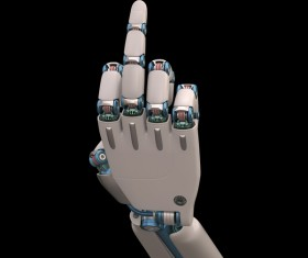 Put up the middle finger Robot hand Stock Photo