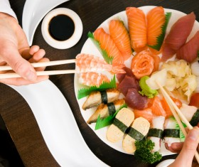 Raw sashimi platter sushi HD picture