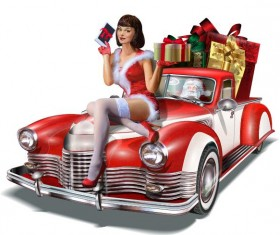 Red car with beautiful christmas girl vector