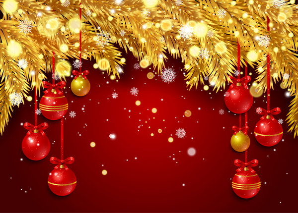 red christmas background with golden pine needles vector 01 - Red Christmas Background
