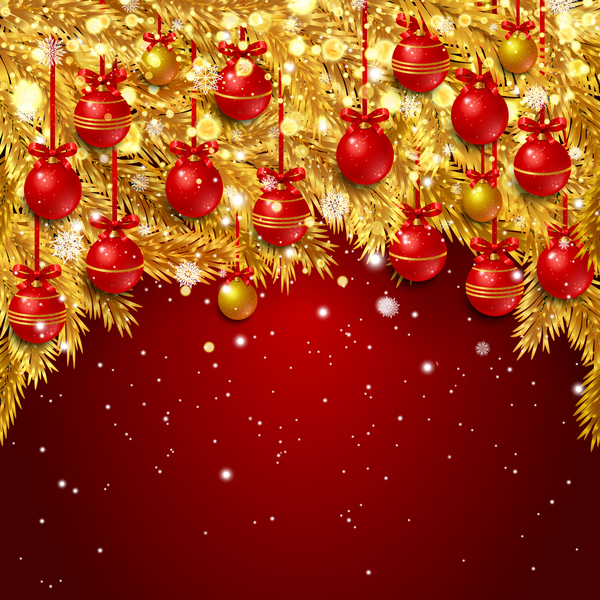 red christmas background with golden pine needles vector 02 - Red Christmas Background