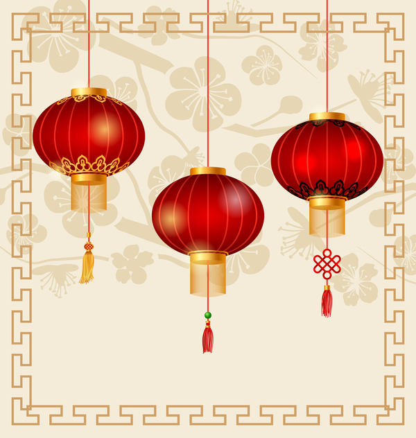 Red lantern with new year frame background material 02 free download