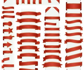 Red ribbon banners vectors 01