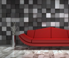 Red sofa with black and white cell wall background HD picture