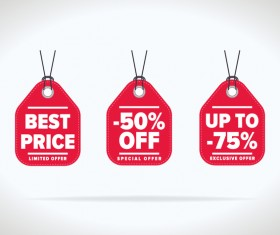 Red special offer tags vector