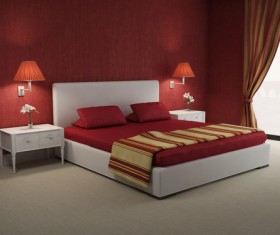 Red wall chic bedroom with red wall lamp HD picture