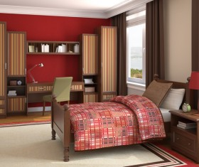 Red wall striped combination cabinet with comfortable beds