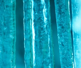Reflected light of the icicle Stock Photo