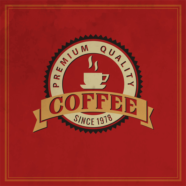 Retro coffee labels with red background vector 01