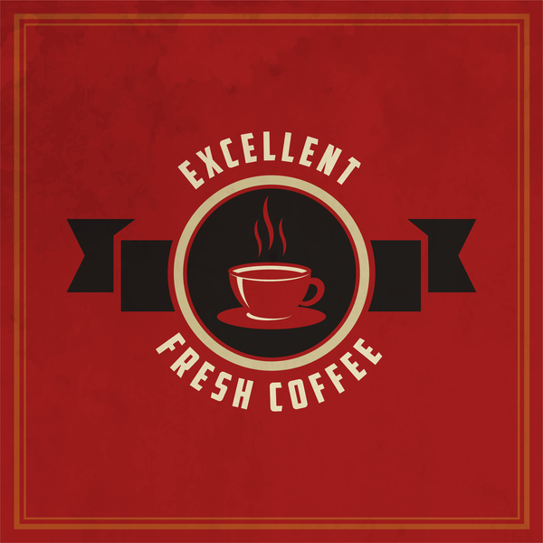 Retro coffee labels with red background vector 06