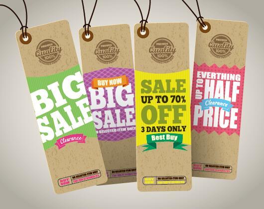 Retro sale cardboard tags vector