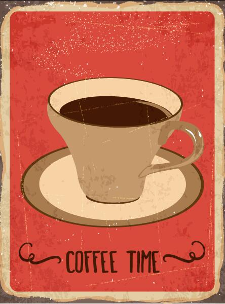Coffee Posters Retro ~ Retro with vintage coffee poster template vector free