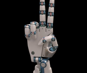 Ride up two fingers of the robot hand Stock Photo