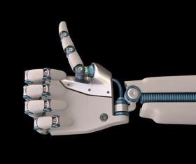 Robot hand thumbs up Stock Photo