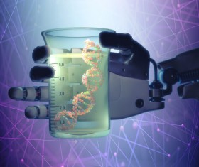 Robotic hand and DNA experiment cup Stock Photo
